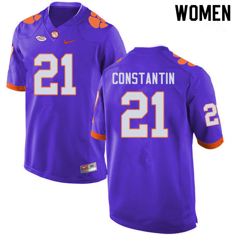Women #21 Bryton Constantin Clemson Tigers College Football Jerseys Sale-Purple